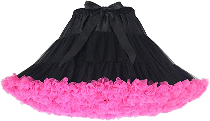 White Karrychen Women Lolita Cosplay Petticoat Puffy Layered Ballet Tutu Skirt Bow Underskirt