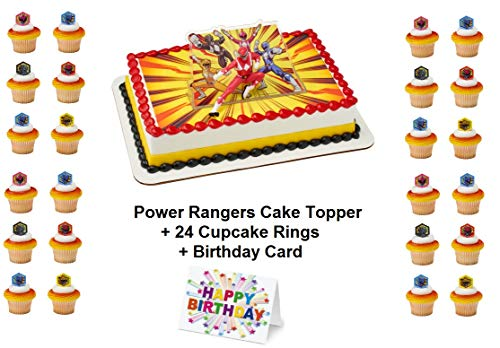 Power Rangers Morphin Time Cake Topper PLUS 24 Matching Cupcake Rings Plus Birthday Card -