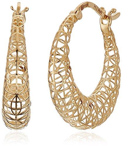 10k Yellow Gold Mesh Wide Hoop Earrings