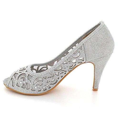 Señoras tamaño Tacón Paseo Peeptoe Noche Mujer alto Diamante Boda Fiesta Plata Zapatos Sandalias PBBwa