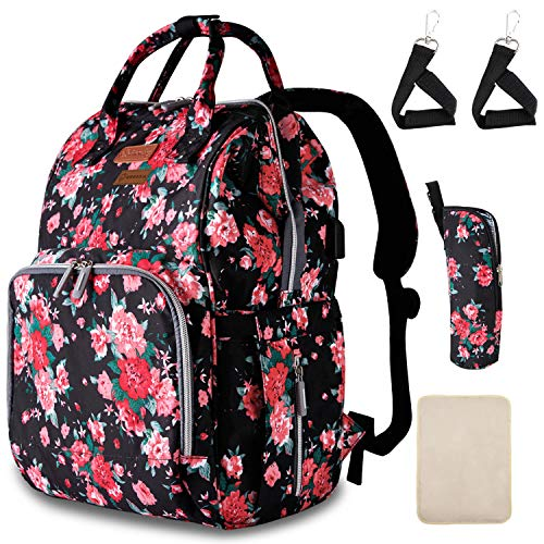 Diaper Bag Backpack with Stroller Straps Insulated Pocket and Changing Pad (Red Flower Pattern)