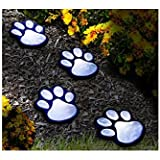 Kinbird Set Of 4, Solar LED Decorative Paw Print Garden Lighting Paws Design Outdoor Landscape Lighting