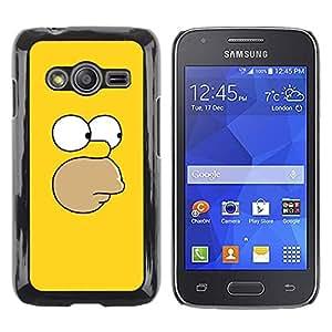 ROKK CASES / Samsung Galaxy Ace 4 G313 SM-G313F / YELLOW FACE / Delgado Negro Plástico caso cubierta Shell Armor Funda Case Cover
