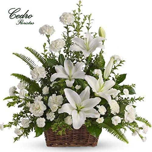 Centro vertical de flores naturales blancas - Servicio a domicilio ...