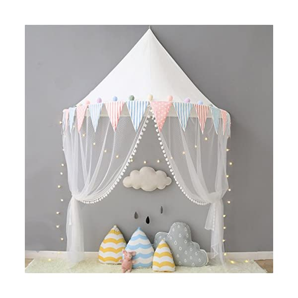 HereThere-100-Cotton-40×24-Children-Play-Tent-Indoor-Dome-Princess-Castle-Cute-Round-Mosquito-Net-Wall-Hanging-Bed-Canopy-Suitable-for-Kids-Room-Decor