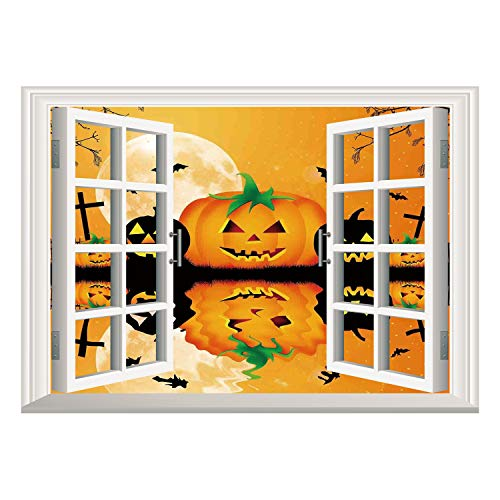 SCOCICI Wall Mural, Removable Sticker, Home Décor/Halloween Decorations,Spooky Carved Halloween Pumpkin Full Moon with Bats and Grave Lake,Orange Black/Wall Sticker Mural ()
