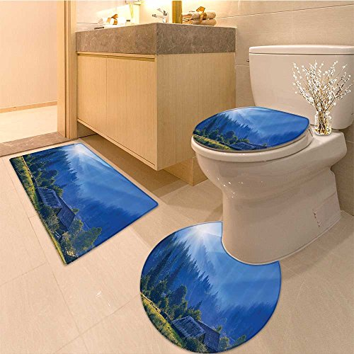 3 Piece Extended bath mat set Bench under Majestic Tree Looks Like Solitude Symbo in Habitat Environment Design Ex Non Slip Bathroom - Fixture Majestic Bath