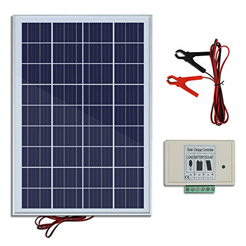 - ECO-WORTHY 20W 12V IP65 Solar Panel Kit: 25W Off Grid Polycrystalline Solar Panel & Aluminum Battery Clips & 3A Charge Controller