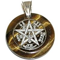 perlascarel Colgante Tetragramaton de Ojo de Tigre Acero Inoxidable y Asa Grande Plata de Ley. Estuche Regalo