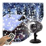 GAXmi LED Snowfall Light Remote Control Christmas Snow Falling Night Projector Lights White Snowflake Flurries Rotating Spotlight Outdoor Indoor Landscape Decorative Lighting