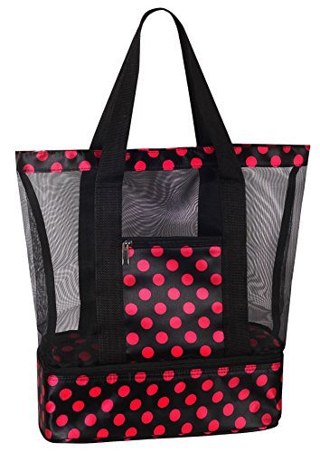 Mesh Beach Tote Bag with Insulated Picnic Cooler Compartment (Black/Pink)