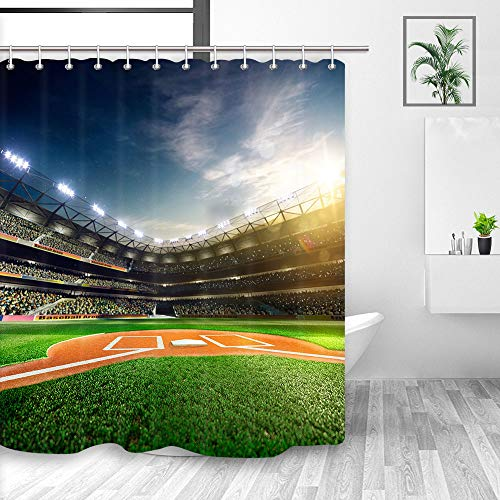 DYNH Sprots Field Shower Curtain, Professional Baseball Grand Arena in The Sunlight, Waterproof Fabric Bathroom Decor, Bath Curtains Accessories, with Hooks, 69X70 Inches - Mississippi State Shower Curtain
