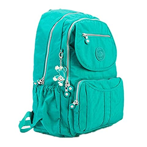 Huaq School Backpack Solid Famous Nylon Casual Laptop Bagpack Color 2 (Clear Post It Pockets)