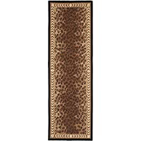 Safavieh Chelsea Collection HK15A Hand-Hooked Black and Brown Premium Wool Runner (26 x 6)