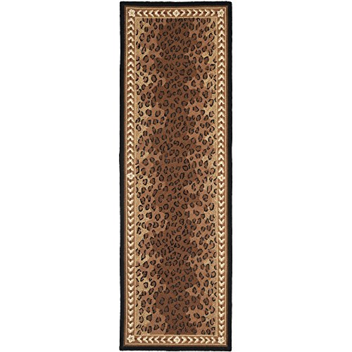 Safavieh Chelsea Collection HK15A Hand-Hooked Black and Brown Premium Wool Runner (2'6'' x 6') by Safavieh