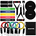 Kootek 18 Pack Resistance Bands Set Workout Bands - 5 Stackable Exercise Bands 5 Loop Resistance Bands 2 Core Sliders with Door Anchor and Handles, Legs Ankle Straps, Carry Bag & Guide Book for Home