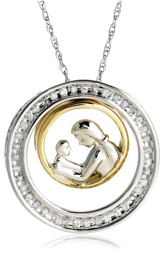 14k Two-Tone Interchangeable Diamond Mother's Day Pendant (1/7 cttw, H-I Color, I2 Clarity)