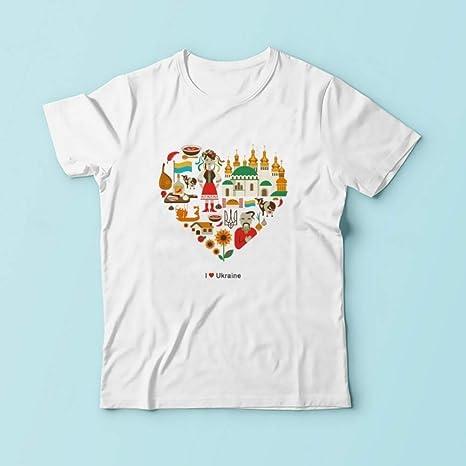 QSCESZ Símbolos Camiseta Hombres Verano Nuevo Blanco Manga Corta Casual Fresco Ucrania Camiseta Graciosa: Amazon.es: Deportes y aire libre