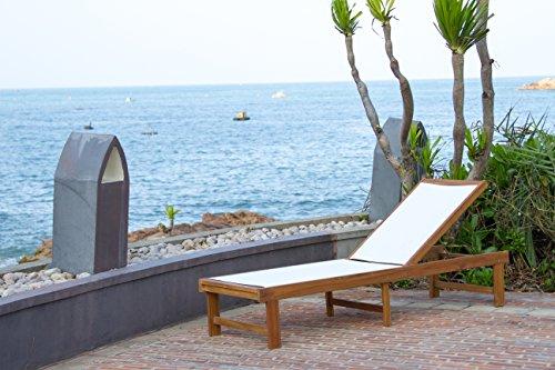 (Safavieh Outdoor Collection Manteca Lounge Chair, Teak Brown / White)