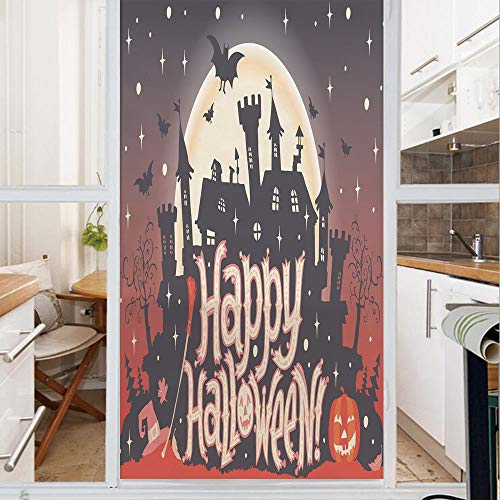 Decorative Window Film,No Glue Frosted Privacy Film,Stained Glass Door Film,Medieval Gothic Castle with Happy Halloween Typography Stars Bats Moon Cheerful,for Home & Office,23.6In. by 35.4In Multicol]()