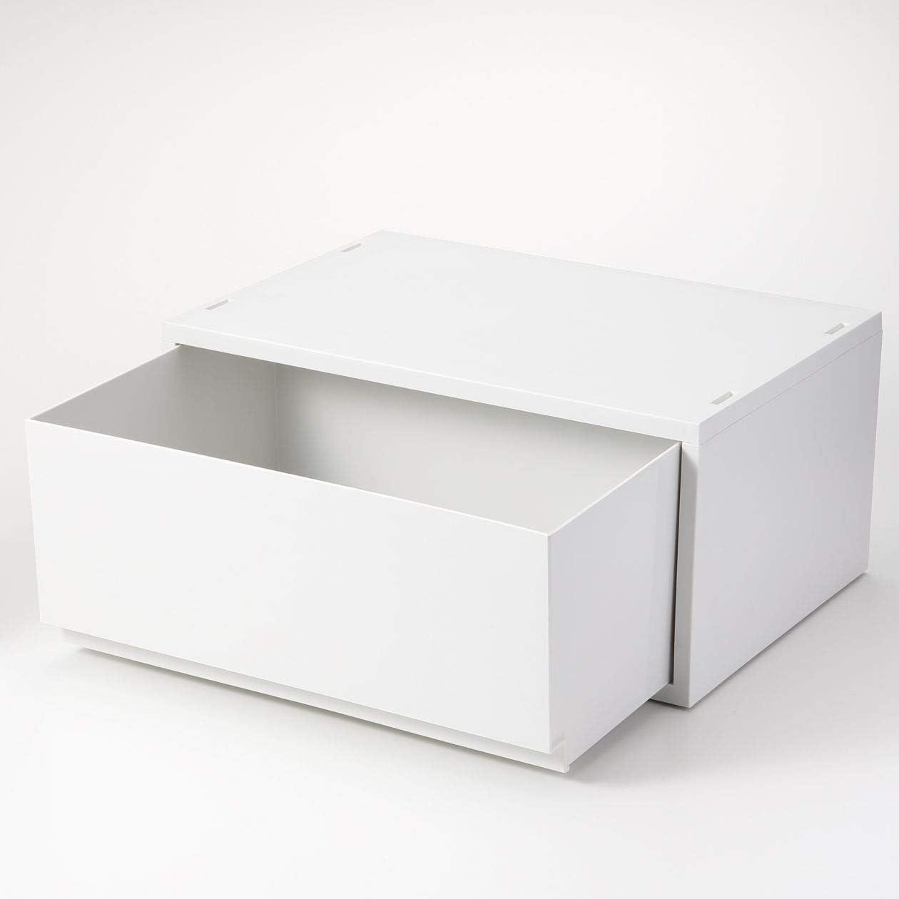 無印良品 ポリプロピレンケース・引出式・横ワイド・深型・ホワイトグレー