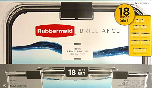 Rubbermaid Brilliance Microwavable Food Storage Container Set, 18-Piece
