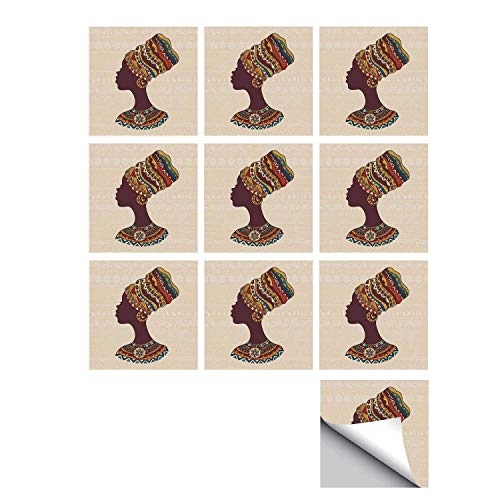 """C COABALLA Tribal Decor Stylish Ceramic Tile Stickers 10 Pieces,African Woman in Traditional Ethnic Fashion Dress Portrait Glamour Graphic for Kitchen Living Room,7"""" L x 7"""" W"""