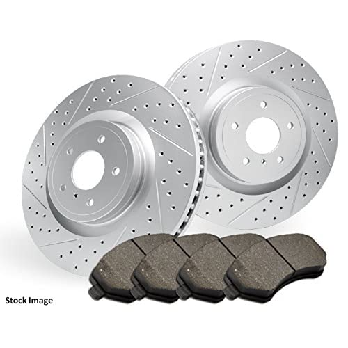 2011 For GMC Sierra 1500 Front Cross Drilled Slotted and Anti Rust Coated Disc Brake Rotors and Ceramic Brake Pads supplier