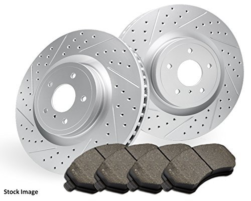(2003 For Dodge Ram 1500 Front Cross Drilled Slotted and Anti Rust Coated Disc Brake Rotors and Ceramic Brake Pads (Note: with 5 Lug Wheels))