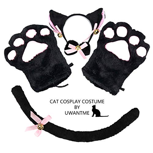 Cat Cosplay Costume Kitten Tail Ears Collar Paws Gloves Anime Lolita Gothic Set Black ()