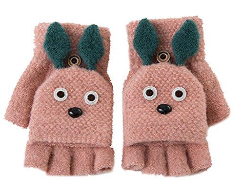 Women Girls Cute Cartoon Rabbit Convertible Flip Top Gloves with Mitten Cover Winter Warm Wool Knitted Half Finger Gloves Thermal Cozy Fingerless Magic Gloves Handwarmer