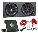 2) Kicker 43C154 1000 Watt 15' Subwoofers + Sealed Box Enclosure + Amp + Wiring