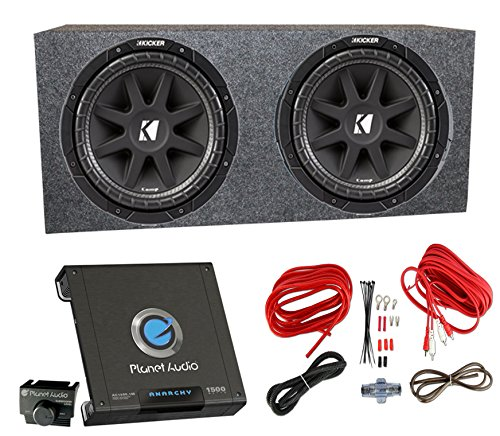 "2) Kicker 43C154 1000 Watt 15"" Subwoofers + Sealed Box Enclosure + Amp + Wiring"