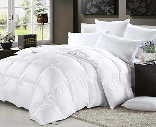 Elliz Luxurious Lightweight White Down Comforter Light Warmth Duvet Insert 100% Cotton 600 Fill Power, King, White