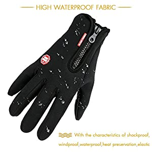 Winter Gloves, TraAcc Touch Screen Gloves Black Gel Men & Women Gloves for Cycling, Running, Climbing and Winter Outdoor Sports- Windproof and Adjustable Size (Black, XXL)