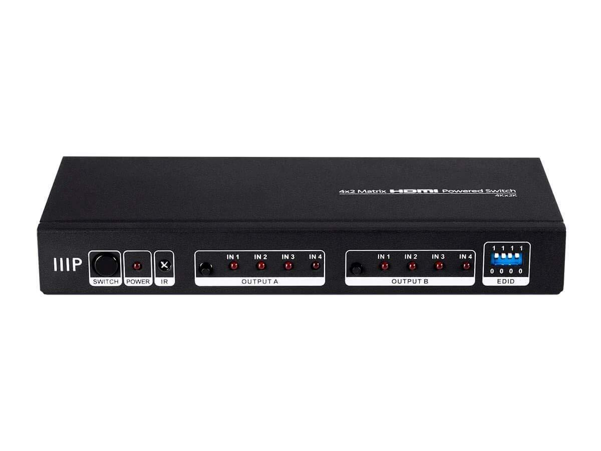 Monoprice Blackbird 4K 4x2 Matrix HDMI Powered Switch with Remote Control