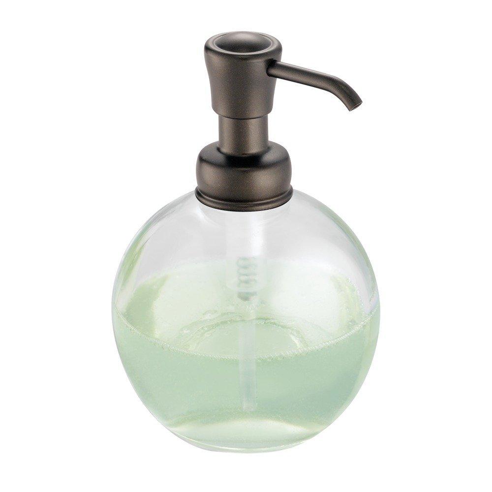Glass bathroom soap dispenser - Amazon Com Interdesign York Glass Soap Lotion Dispenser Pump For Kitchen Bathroom Countertops Clear Bronze Home Kitchen