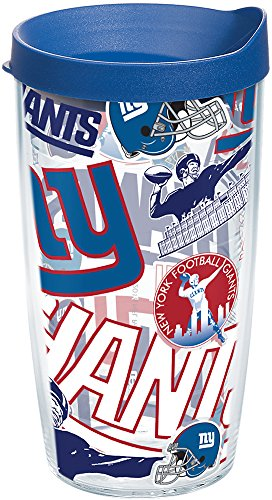 Tervis 1248298 NFL New York Giants All Over Tumbler with Wrap and Blue Lid 16oz, Clear