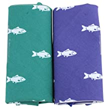 Green/Blue Novelty Fish Handkerchief Set by David Van Hagen