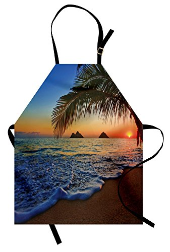 Ambesonne Hawaiian Apron, Pacific Sunrise at Lanikai Beach Hawaii Colorful Sky Wavy Ocean Surface Scene, Unisex Kitchen Bib Apron with Adjustable Neck for Cooking Baking Gardening, Blue Ivory ()