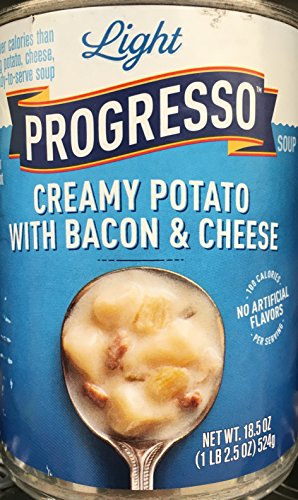 Progresso Light Creamy Potato with Bacon & Cheese Soup 18.5oz Can (Pack of 5) (Cheese Light)