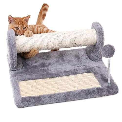 PAWZ Road Cat Scratching Post and Pad, Sisal-Covered Scratch Posts and Pads with Play Ball Great for Kittens and Cats