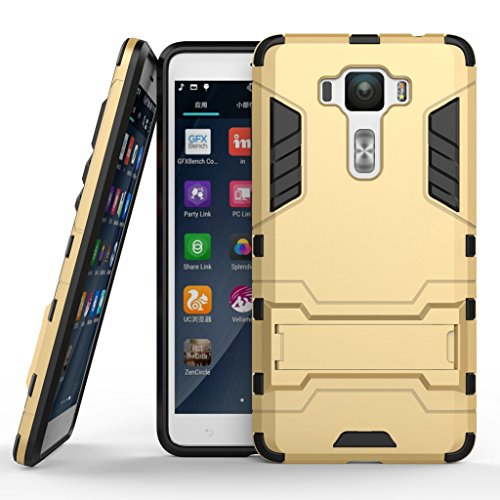 Zenfone 3 Deluxe 5.5 ZS550KL Case DWaybox 2 in 1 Hybrid Heavy Duty Armor Hard Back Cover Case with kickstand for ASUS Zenfone 3 Deluxe ZS550KL 5.5 Inch (Gold)