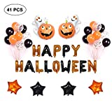 AOLVO Halloween Balloons - Happy Halloween Mylar Letter Balloons Banner Pumpkin Ghost Balloons Party Supplies,41 Pack Confetti Balloons for Cute Fun Party Favors Decoration
