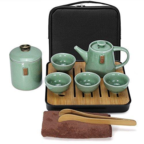E&A Portable Chinese Kongfu Tea Set Travel Ceramic Porcelain Tea Ware Teapot Canister Teacups Tea Clip Towel Tray (A)