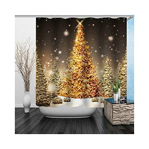 ANAZOZ Bath Curtain Eco-Friendly Polyester Black Gold Shiny Christmas Tree Anti-Bacterial Waterproof Mildew Resistant Bathroom Shower Curtains 180x200 ()