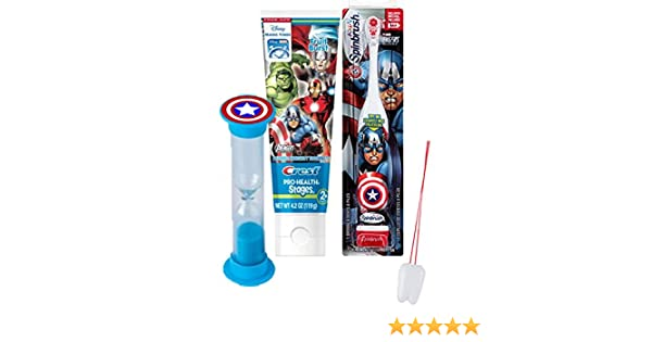 Amazon.com: Marvel Avengers 3pc Bright Smile Oral Hygiene Set! Turbo Powered Toothbrush, Toothpaste & Brushing Timer! Plus Bonus