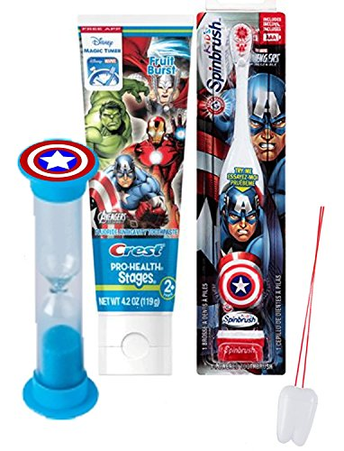 Marvel Avengers 3pc Bright Smile Oral Hygiene Set! Turbo Powered Toothbrush, Toothpaste & Brushing Timer! Plus Bonus
