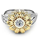 CMrtew 100PC Exquisite Women's Two Tone Silver Floral Ring Round Diamond Gold Sunflower Jewel Couples Rings Bijouterie Rings for Women (10)