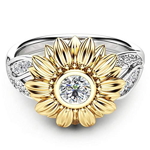 Women Two Tone Silver Floral Ring Diamond Gold Sunflower Jewelry Crystal Rings Engagement Wedding Band Ring